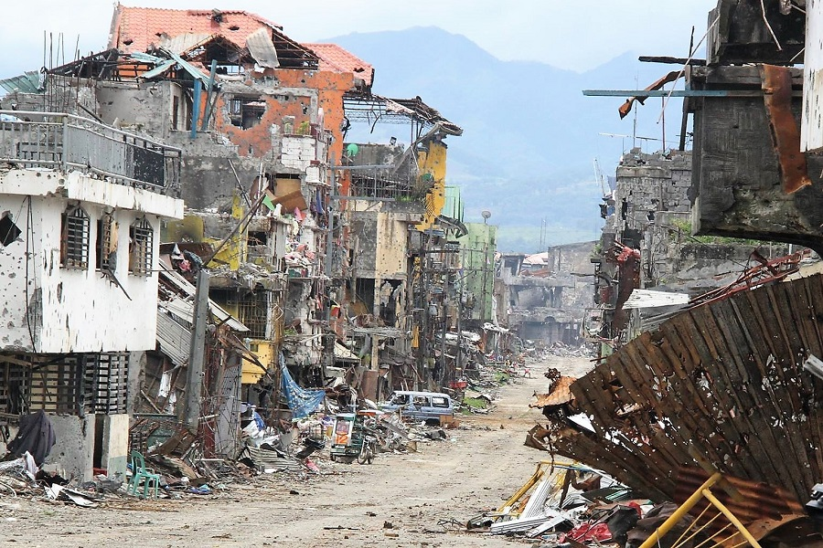 This photo shows the ruins of Marawi City